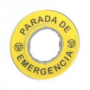 ETIQUETA PARADA EMERGENCIA 3D con referencia ZBY9420 de la marca SCHNEIDER ELEC.