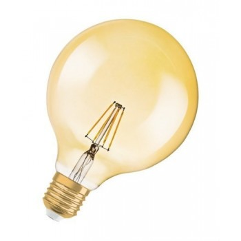 Lámpara LED VINTAGE 1906 GLOBE 51 E27 filamento GOLD 7W 650lm 2400K 15000h con referencia 4058075809406 de la marca OSRAM.