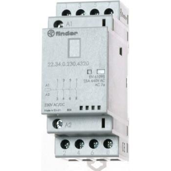 CONTACTOR MODULAR 4NA 24V AGNI INDICADOR +LED con referencia 223400244320 de la marca FINDER.