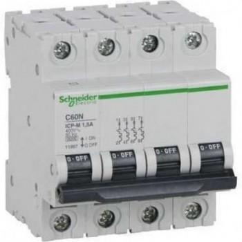 INTERRUPTOR AUTOMATICO CONTROL POTENCIA C60N ICP-M 4 POLOS 63A  con referencia 11981 de la marca SCHNEIDER ELEC.