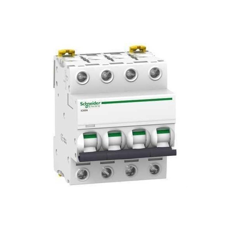 INTERRUPTOR AUTOMATICO MAGNETOTERMICO IC60N 4 POLOS 20A CURVA-D con referencia A9F75420 de la marca SCHNEIDER ELEC.