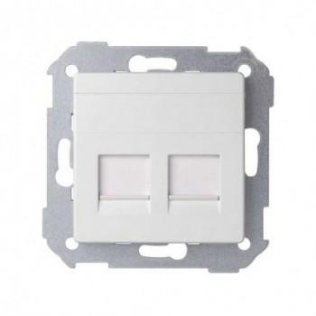Adaptador 2 conectores RJ-AMP Simon 82 blanco nieve con referencia 82006-30 de la marca SIMON.