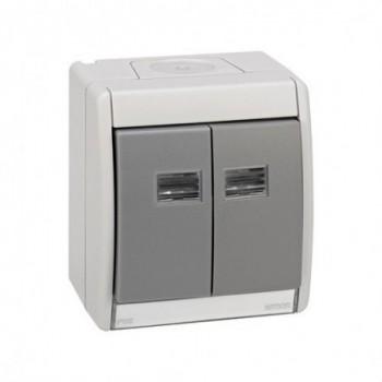 Caja vacía IP55 teclado doble Simon 44 AQUA gris con referencia 4490782-035 de la marca SIMON.