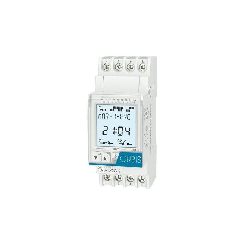 Interruptor horario digital DATA LOG 2 circuitos 16A con referencia OB175012 de la marca ORBIS.