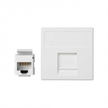 Placa K45 guardapolvo 1 RJ45 categoria 6 UTP blanco nieve con referencia K96U/9 de la marca SIMON.