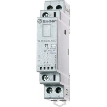 CONTACTOR MODULAR 2NA 230V AGNI INDICADOR MECANICO +LED con referencia 223202304320 de la marca FINDER.