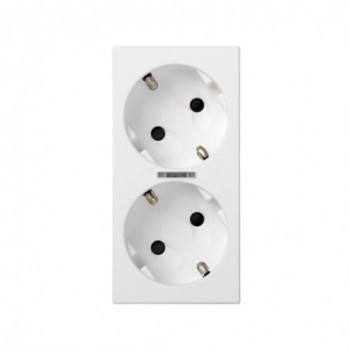 Base enchufe doble schuko corte 500 CIMA led blanco con referencia 50010432-030 de la marca SIMON.