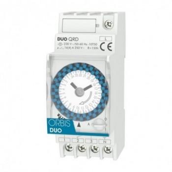 Interruptor horario modular DUO QRD 250VCA con referencia OB292032 de la marca ORBIS.