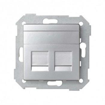Adaptador 2 conectores RJ-AVAYA Simon 82 aluminio mate con referencia 82009-33 de la marca SIMON.