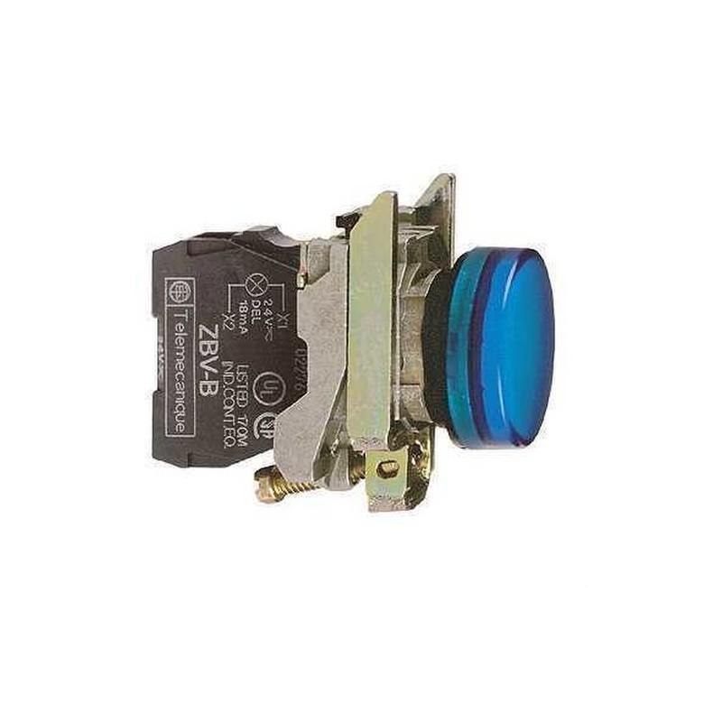 PILOTO CON LED DIAMETRO 22 110-120V AZUL EMBELLECEDOR METALICO con referencia XB4BVG6 de la marca SCHNEIDER ELEC.