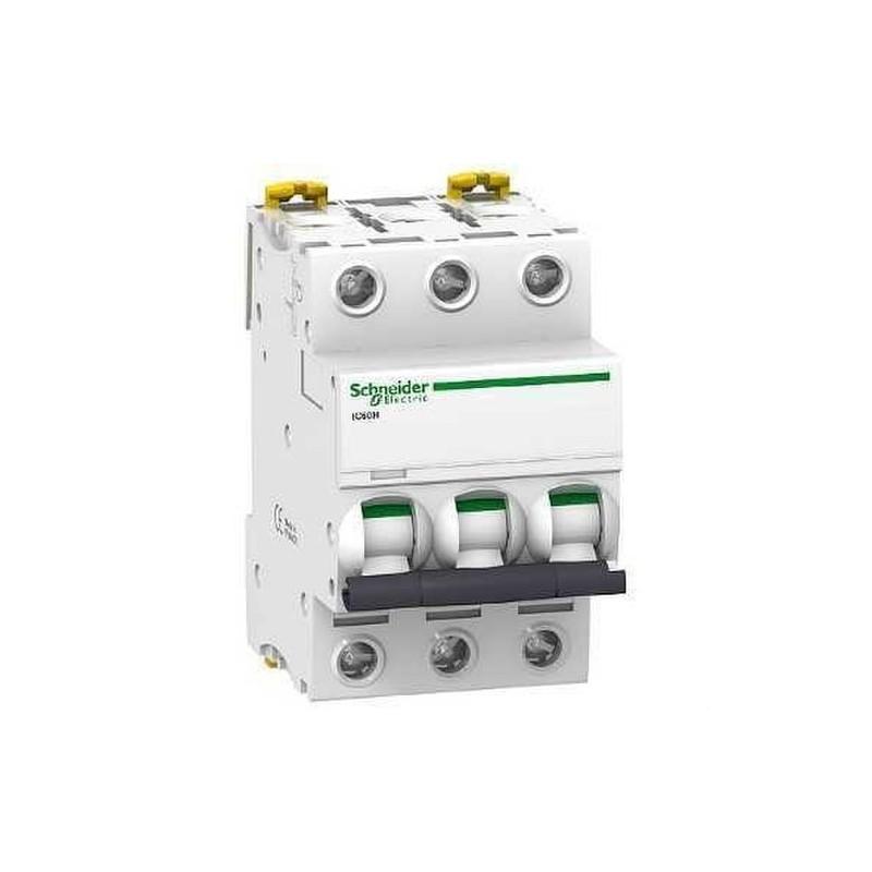 INTERRUPTOR AUTOMATICO MAGNETOTERMICO IC60H 3 POLOS 10A CURVA-C con referencia A9F89310 de la marca SCHNEIDER ELEC.