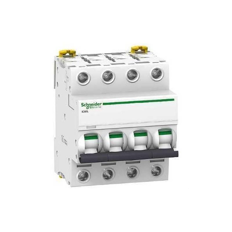 INTERRUPTOR AUTOMATICO MAGNETOTERMICO IC60L 4 POLOS 10A CURVA-C con referencia A9F94410 de la marca SCHNEIDER ELEC.