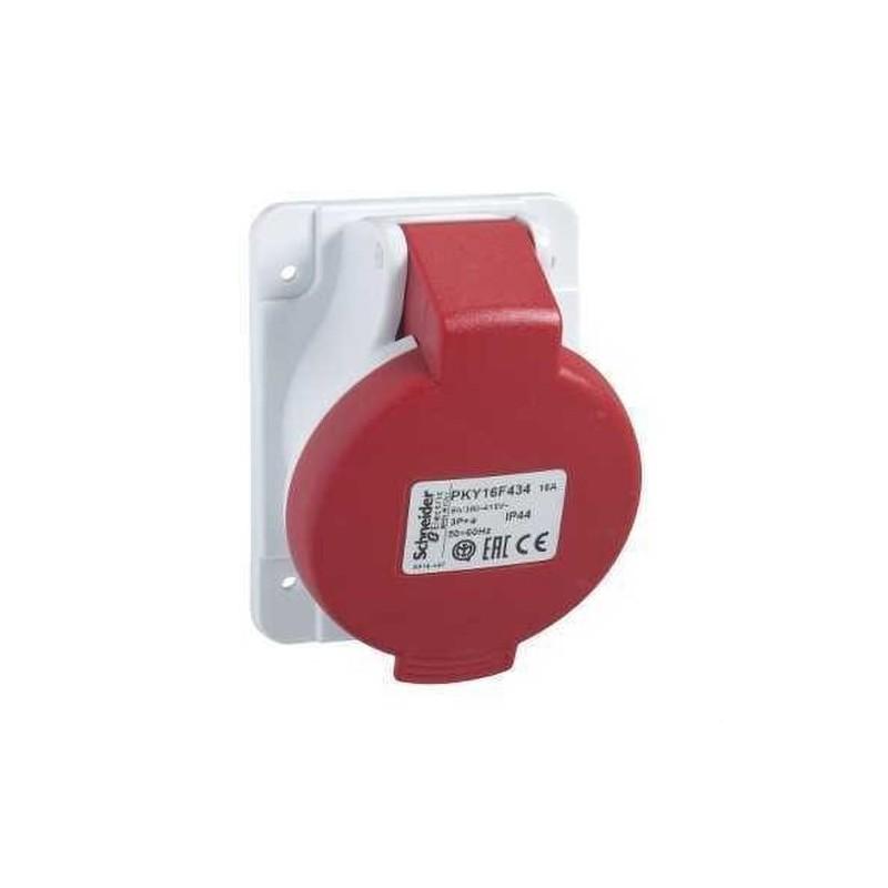 BASE EMPOTRAR 16A 3 POLOS+NEUTRO+TOMA TIERRA 380-415V IP44  con referencia PKY16F435 de la marca SCHNEIDER ELEC.