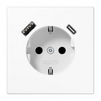Enchufe Schuko® con USB tipo AC serie LS blanco alpino con referencia LS1520-15CAWW de la marca JUNG.