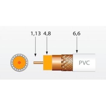 Cable coaxial T100 CU/CU polietileno clase A 100m negro con referencia 215501 de la marca TELEVES.